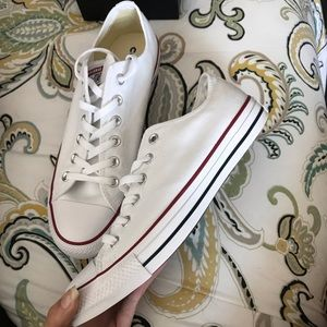 Unworn White Converse Low Tops